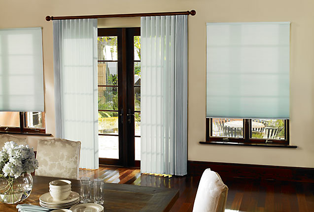 perceptions room darkening sheers offer the soft look of sheers with the added light control of blinds sheer fabrics softly filter natural light when - Levolor Shades