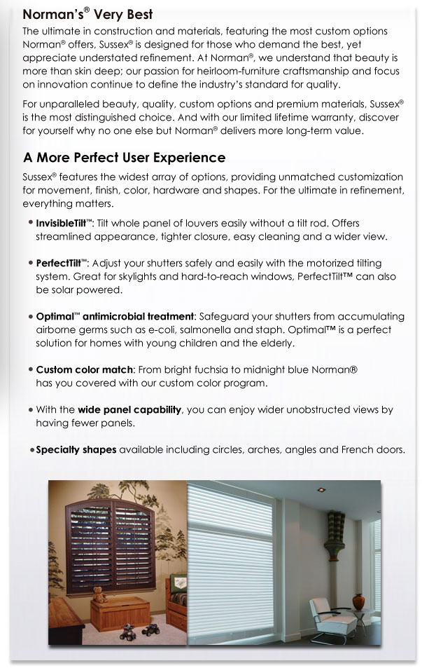 Norman Shutter's very best - Sussex Shutters description